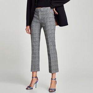 Zara Gray + Black Plaid Tartan Cropped Pant